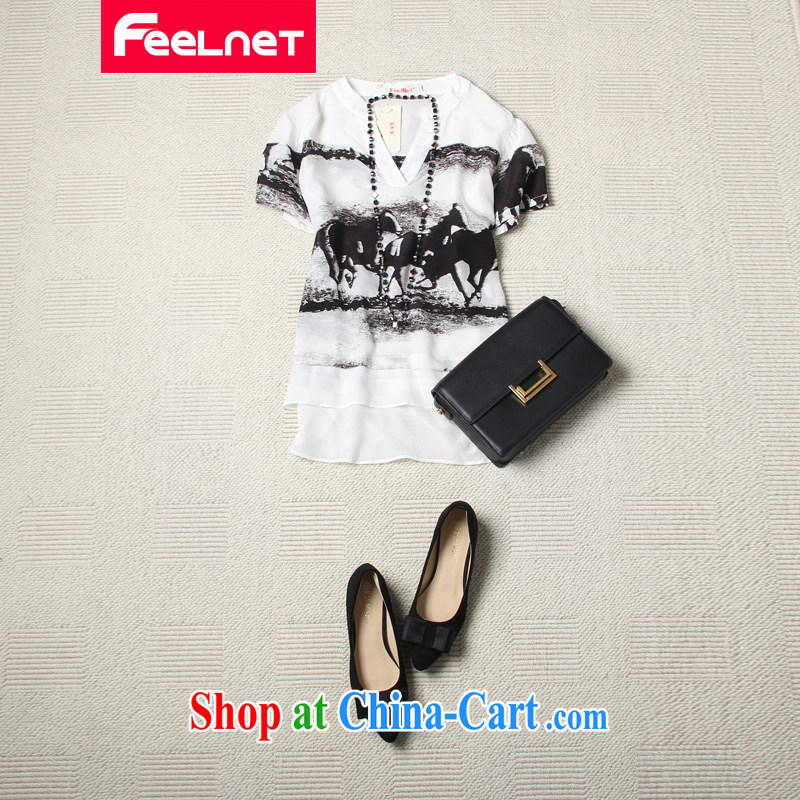 feelnet thick MM 2015 larger female summer new Europe V collar short-sleeved abstract dyeing and printing the code silk shirt 1410 4 XL