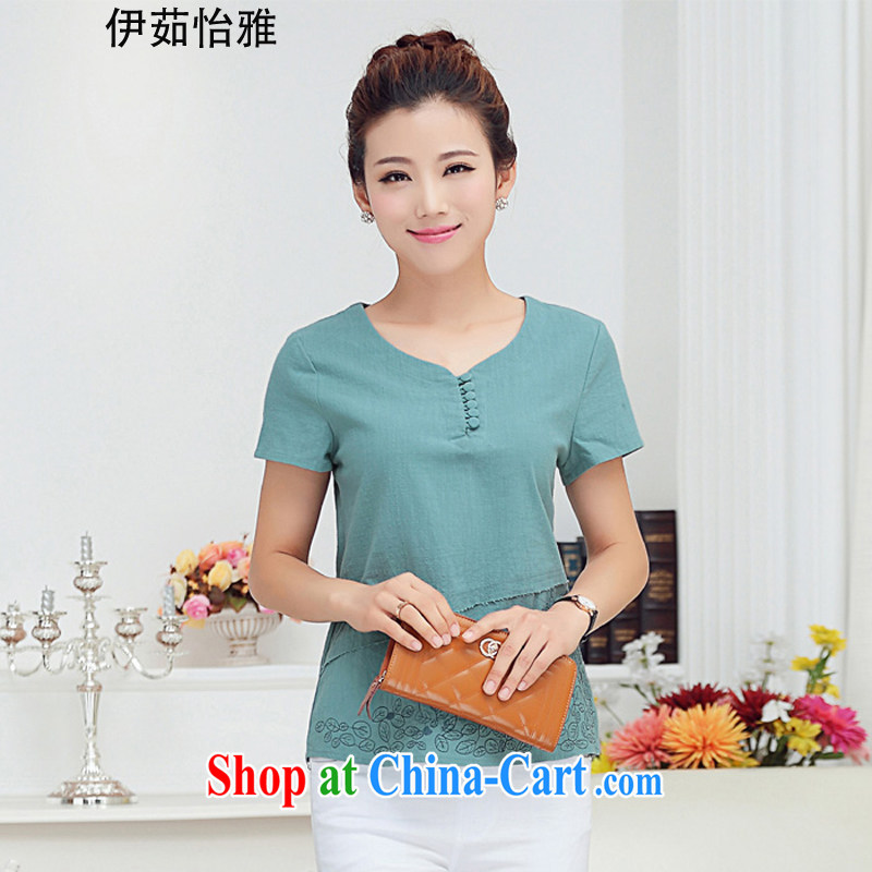 The Ju-Yee Nga new summer the Code women embroidered thick sister Yau Ma Tei cotton shirt short-sleeved shirt T YY 77,188 blue XXXL
