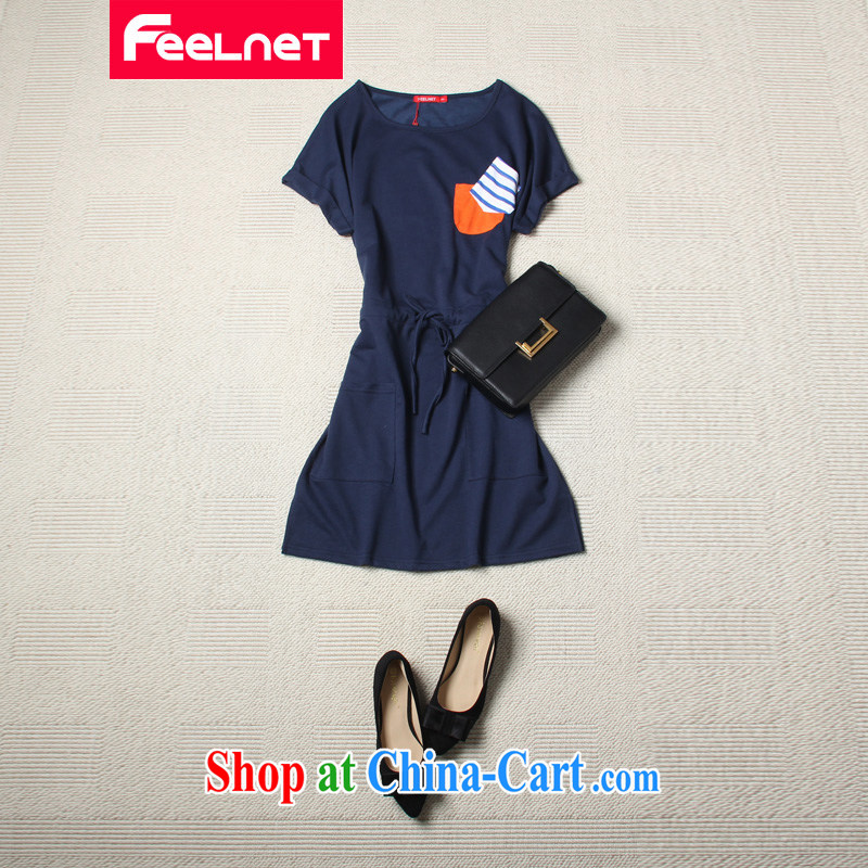 feelnet thick MM 2015 XL female summer new Korean-pocket stitching, with the Code dress 2119 blue 5 XL
