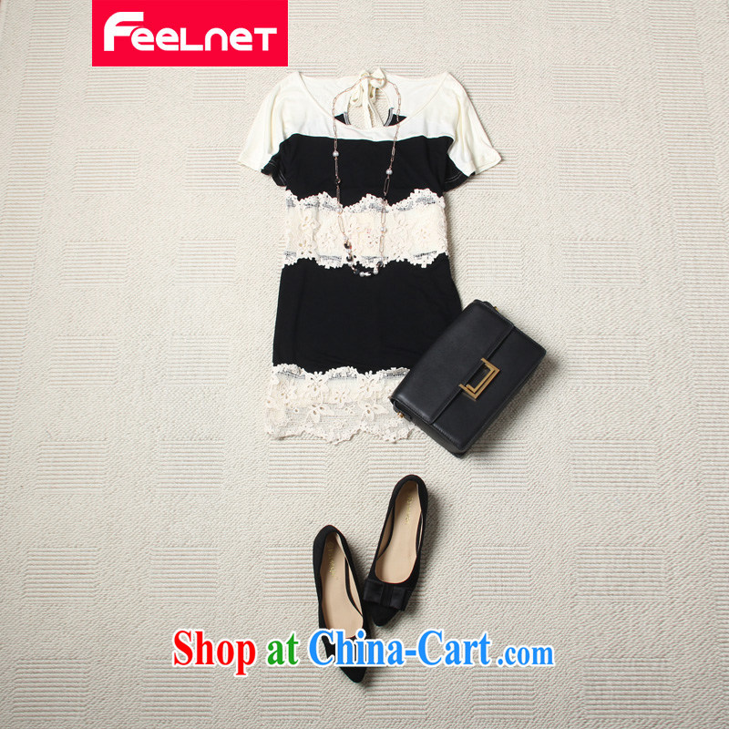 feelnet thick MM 2015 XL female summer new Korean version, graphics thin stitching lace short sleeves shirt T 2140 white 3XL
