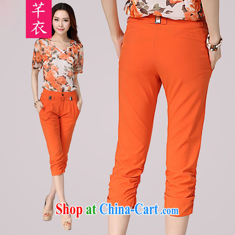Constitution, XL girls 7 pants 2015 new thick mm video thin spring thin Korean Beauty orange 7 pants thick sister, trouser press OL trousers orange 2 XL