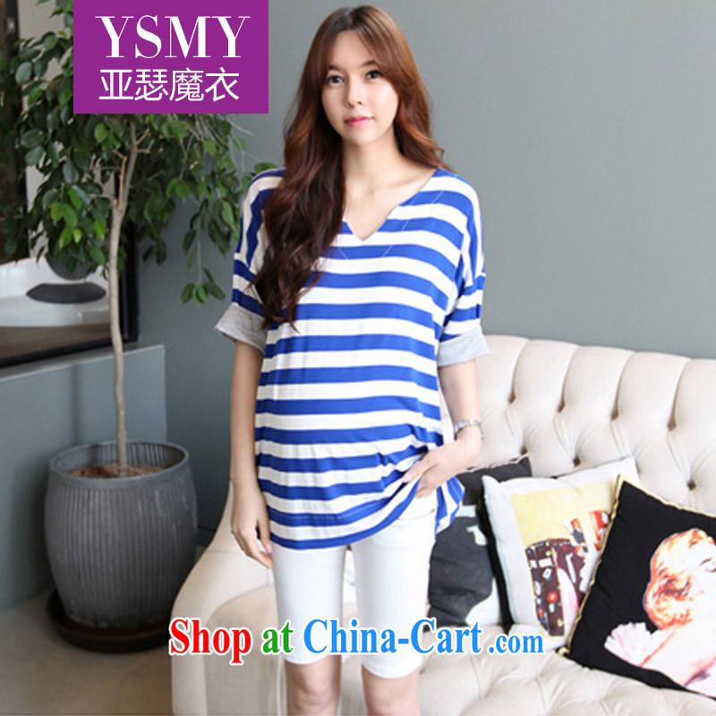 Arthur magic Yi 2015 summer new female Korean fashion V collar stripes loose the code T pension female blue are code