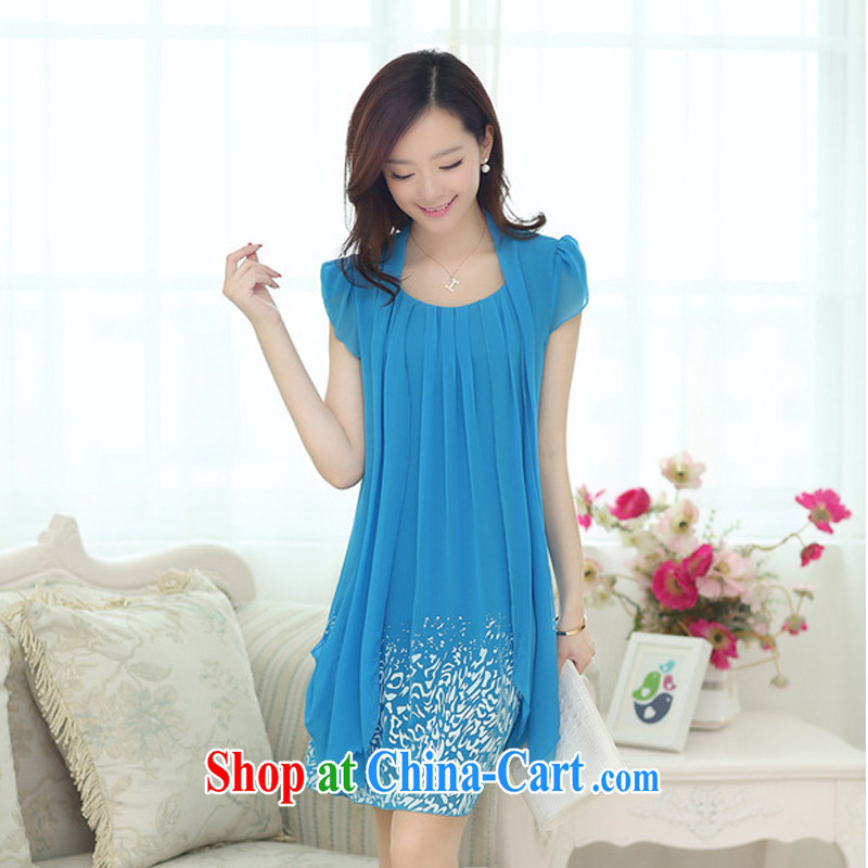 The 618 explosives pre-emptive shopping health, Mrs. Elizabeth Addis Ababa ELIBSHE, Mrs. Elizabeth Addis Ababa new Korean women's clothing large code snow woven temperament ladies dress sky L