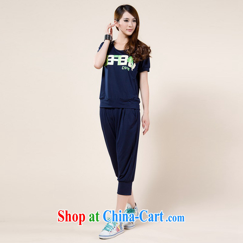 2014 stamp short sleeve with larger female sports ice silk T shirts 7 pants set girls summer Korean dark blue XXXXL
