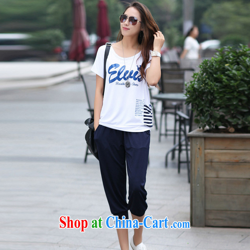 Summer thick MM larger women short-sleeve round neck T shirt + 7 pants sport and leisure package female Korean style white XXL