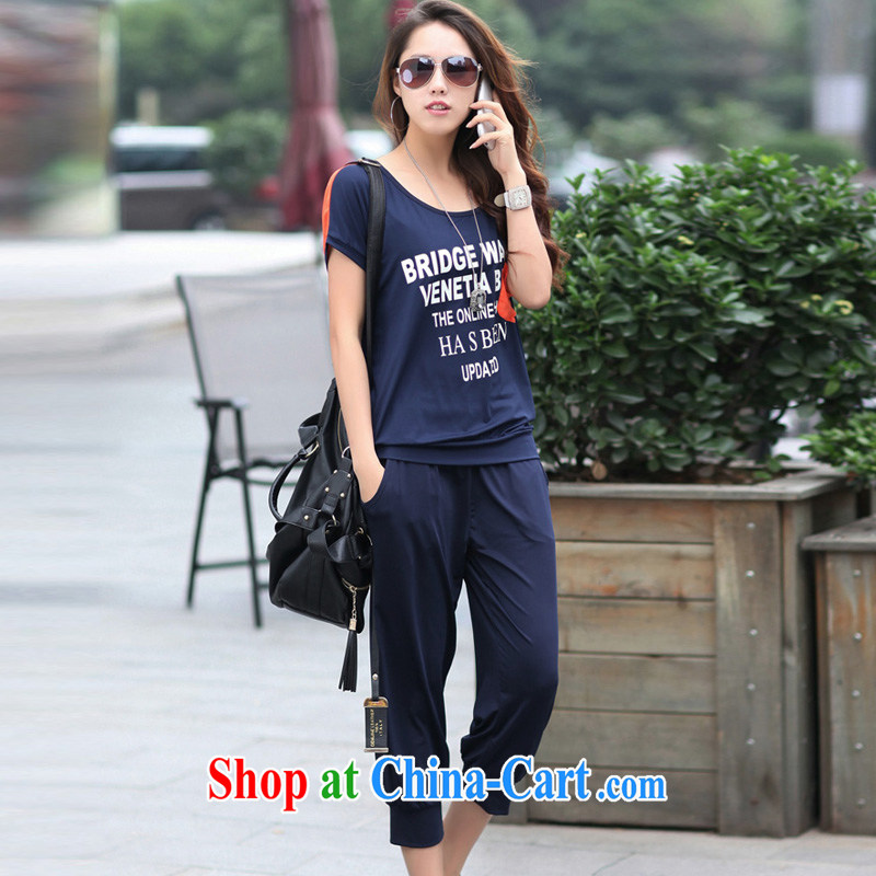 Thick MM larger women short-sleeve T-shirt 9 pants graphics thin sport and leisure package girls summer 2014 Korea summer dark blue XXXL