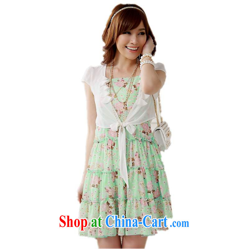 The delivery package as soon as possible-XL dresses 2014 new Summer Snow cool woven floral two-piece with shawl straps dress mm thick short green is code about 90 - 120 jack