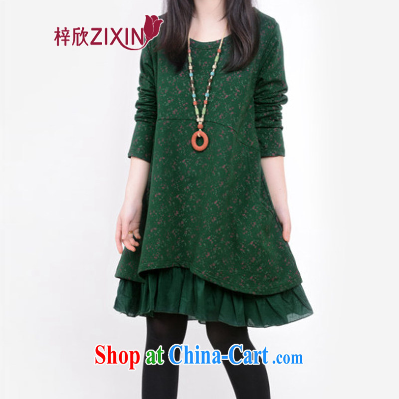 Tsz Yan 2015 spring new female Korean floral leave two leisure fashion long-sleeved dresses larger female X 0801 dark XXL