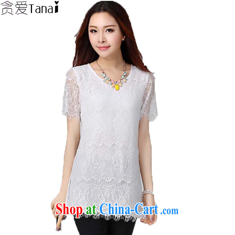 Loved summer Korean lady graphics thin, long, thick sister larger female short-sleeve lace shirt 2173 white XXXXL