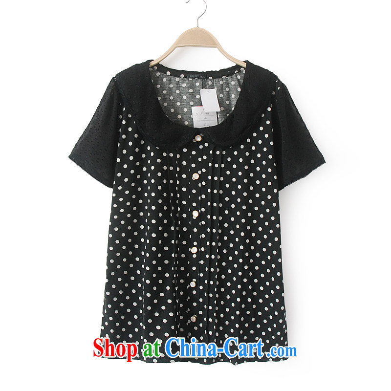 Thick MM summer large foreign trade, women in Europe and the single T-shirt shirt shirt doll T-shirt King, short-sleeved Wbs lapel black 3L _tile measurement clothing control_