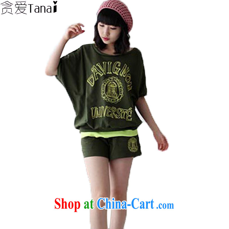loved the code female summer thick sister relaxed casual bat sleeves shirt T shorts Sports Kit two-piece 1128 army green XL recommended weight around 145