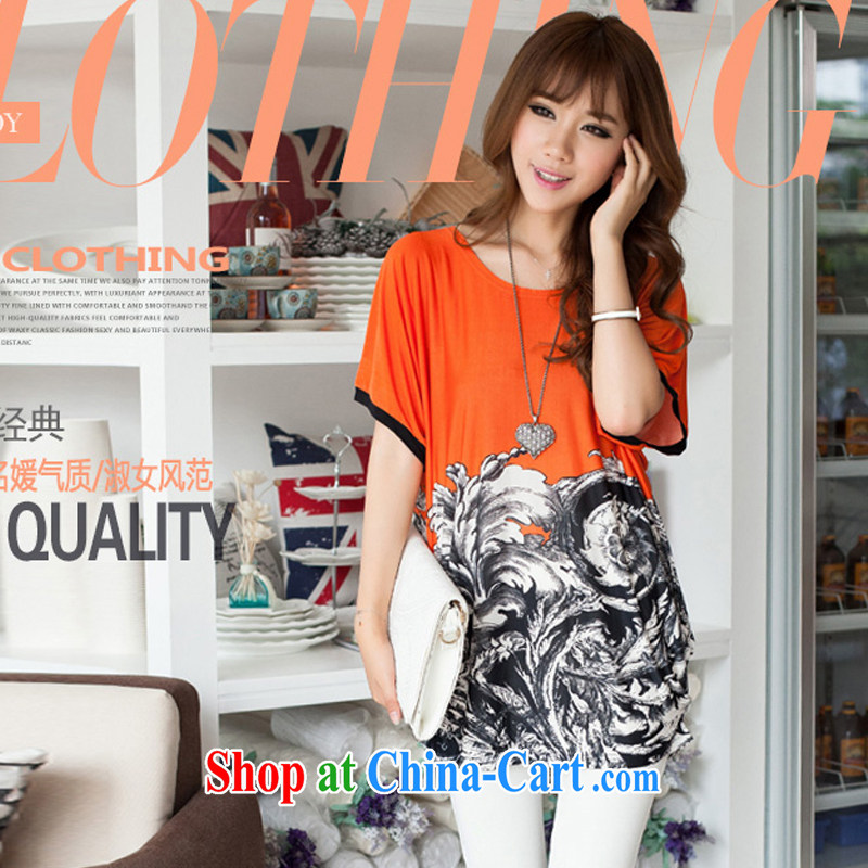 Szili Clinton's larger women milk, stretch long, short-sleeved T-shirt 2015 summer new thick MM the fat and loose stamp hit color bat T-shirt T-shirt orange XL