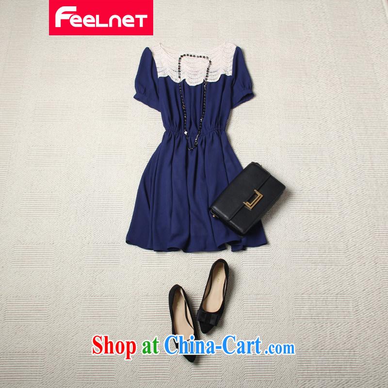 feelnet XL 2015 summer new Korean female waist lace stitching snow woven short-sleeved dress 2146 blue 5 XL