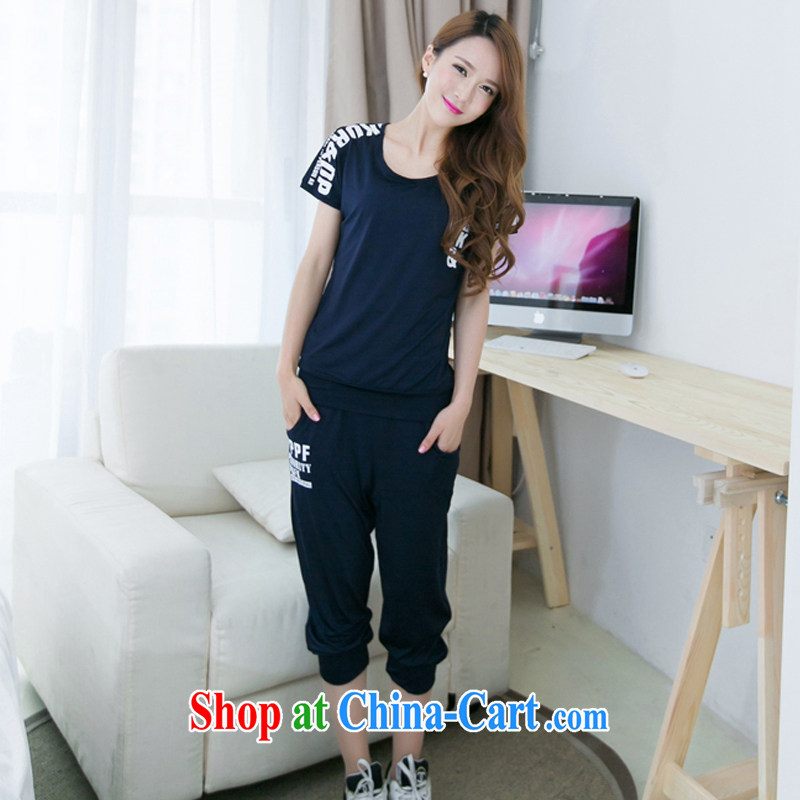 2015 summer edition Korea XL female thick MM short-sleeve graphics thin 7 pants sport and leisure package deep blue XXXXL