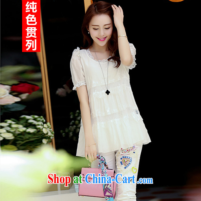 Pure color has always been the 2015 summer new Korean Beauty graphics thin 100 ground lace short sleeve large code snow woven shirts female white XXL