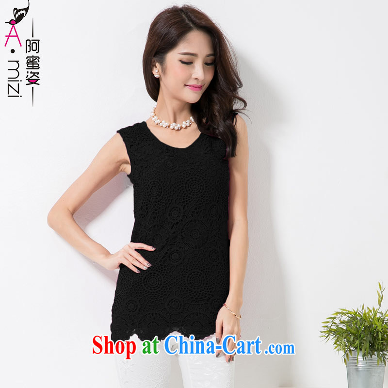 The honey and diverse expertise MM summer new, larger female Korean lace sleeveless round neck snow woven shirts vest solid shirt women 8780 black XXXL