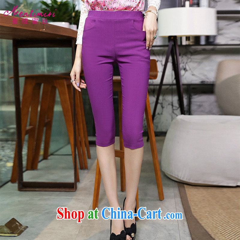 Mephidross economy honey, and indeed increase, female fat mm summer Korean fashion graphics thin leisure 7 pants purple 9031 the code XL
