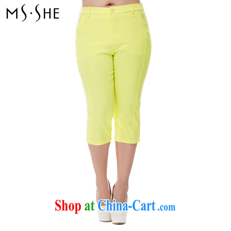 msshe larger female 2014 summer edition won the fat XL women mm thick graphics thin 7 pants clearance 7040 yellow T 5