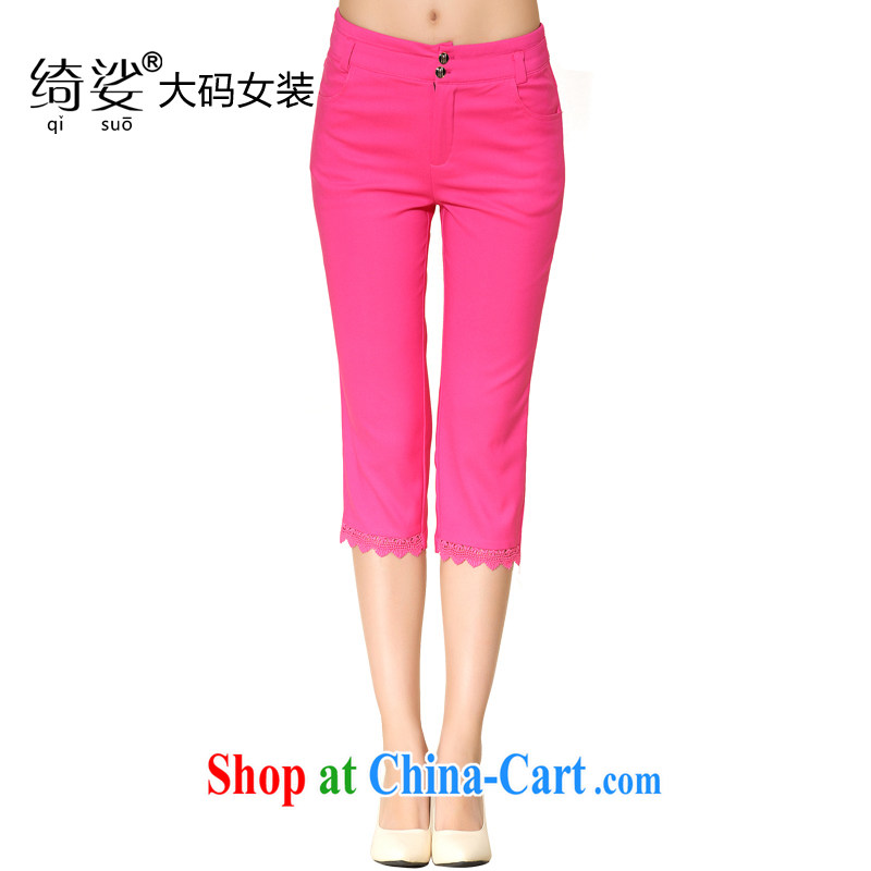 cheer for 2014 summer new XL women mm thick waist in cultivating graphics skinny foot solid 7 pants pants of 2103 red 5 XL
