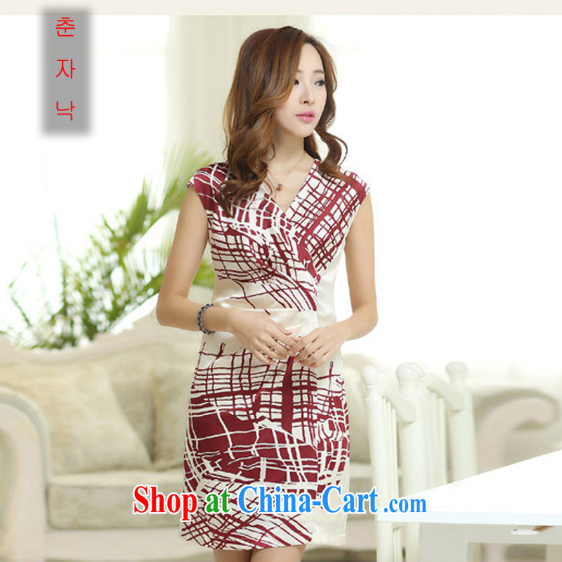 Summer 2015 new thick MM larger female sauna silk silk positioning tartan dresses the saffron XXXL