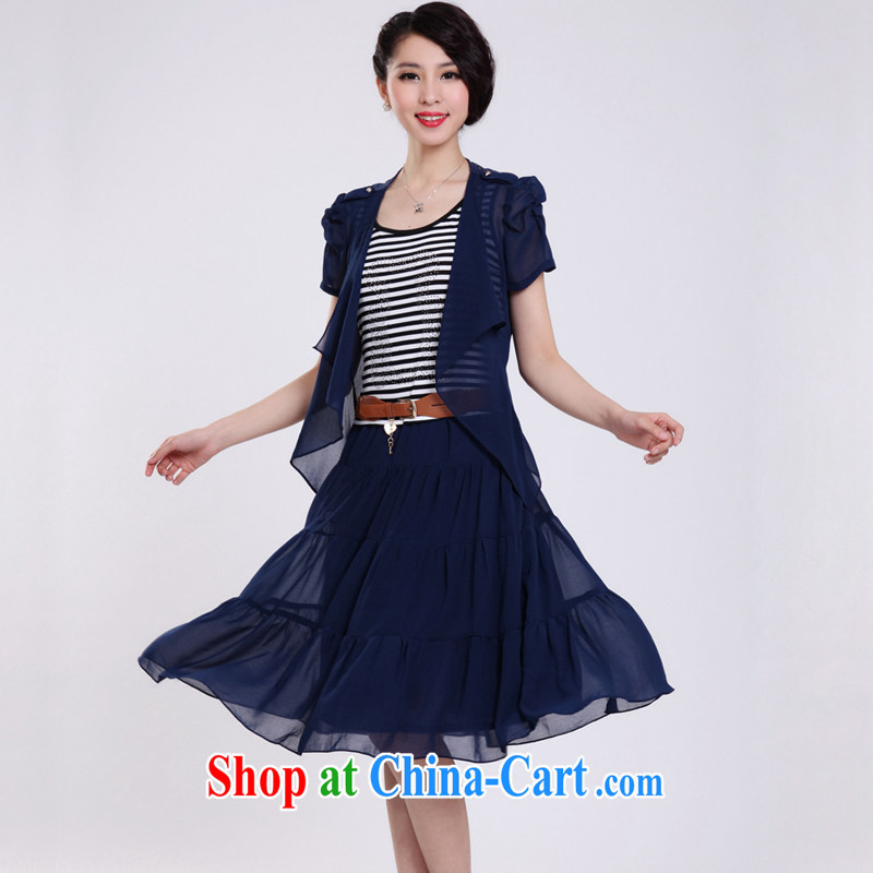 The sheep, the 2015 Spring Summer new women with larger female snow woven stripes graphics thin large code dresses stylish long skirts female Two-piece Q 06 two-piece blue XXXXXL