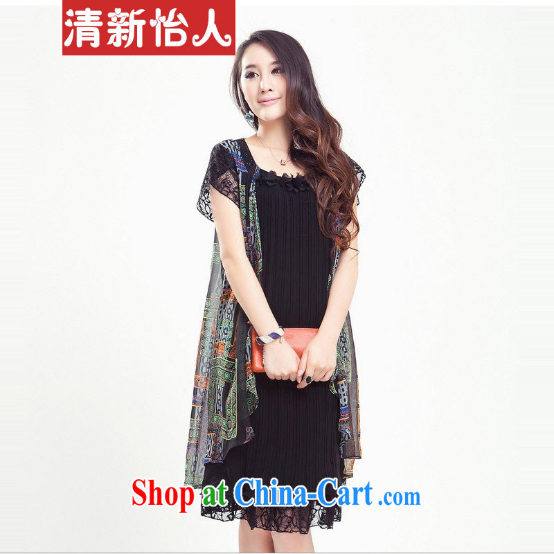 Refreshing thick MM graphics thin ice woven dresses larger female summer is the increased 200 jack can be wearing a black 4 XL