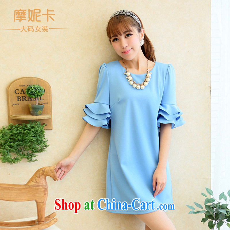 Connie Moses Carter larger female summer new 2014 mm thick summer stylish petal cuff video thin even coat skirt light blue XXXXL
