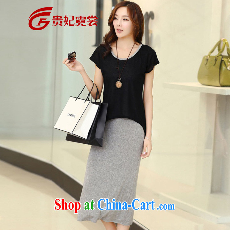 queen sleeper sofa Ngai advisory committee 2014 mm thick summer new king, female long skirt thick mm XL leave of two garment short-sleeved long skirts A 115 black 3 XL for 165 - 200 jack