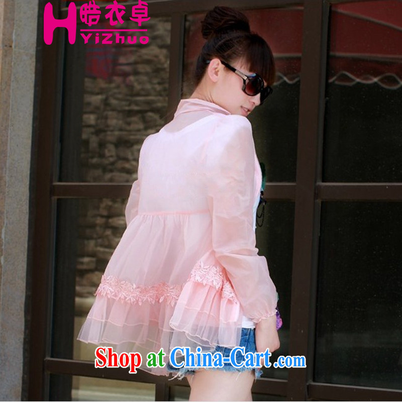晧 Yi Cheuk-yan 2015 summer new clothes sunscreen clothing New Products lace-yi, a cardigan summer, air-conditioning T-shirt pink XXL