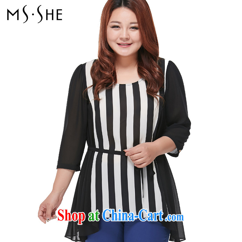 The MsShe Code women snow woven shirts 2015 summer new round-collar short-sleeve striped T shirt snow woven shirts T-shirt 7042 black-and-white 5XL