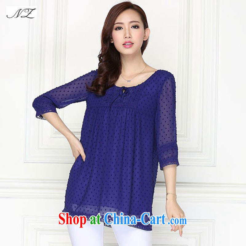 gel beads 2015 spring new Korean version XL ladies relaxed mm thick snow woven shirts T-shirt royal blue XXXL 165 - 180 jack