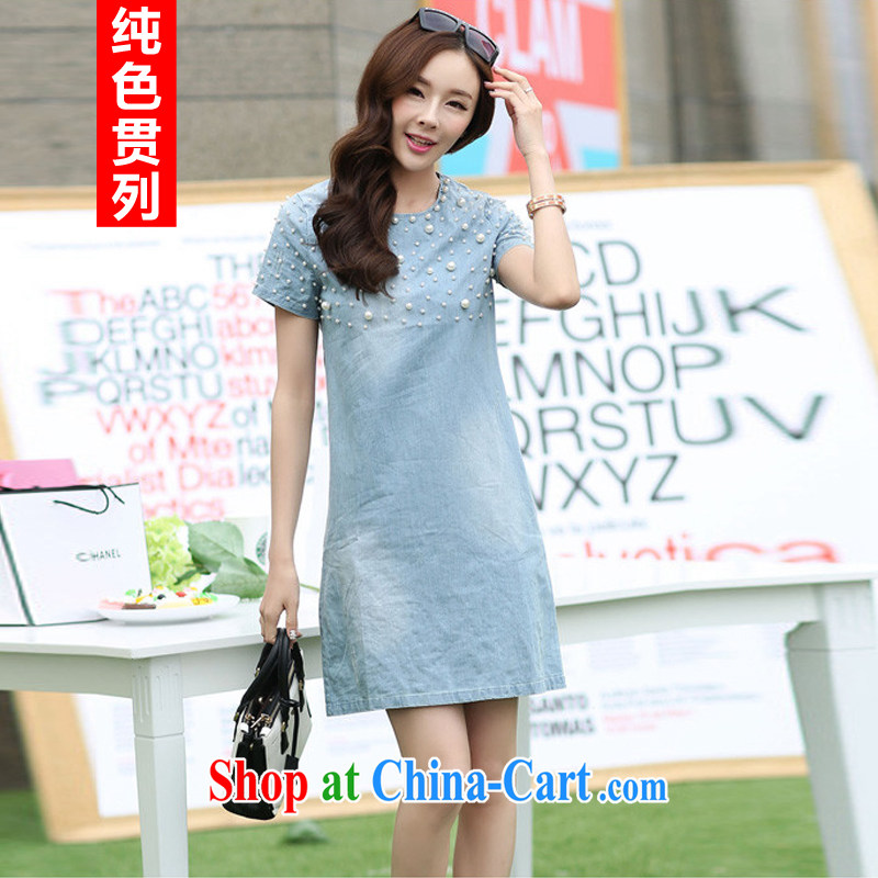 Pure color has always been the 2015 summer new women with king size, female thick mm summer new thick sister large code short-sleeved blue denim dress graphics thin female cowboy blue XXXXL