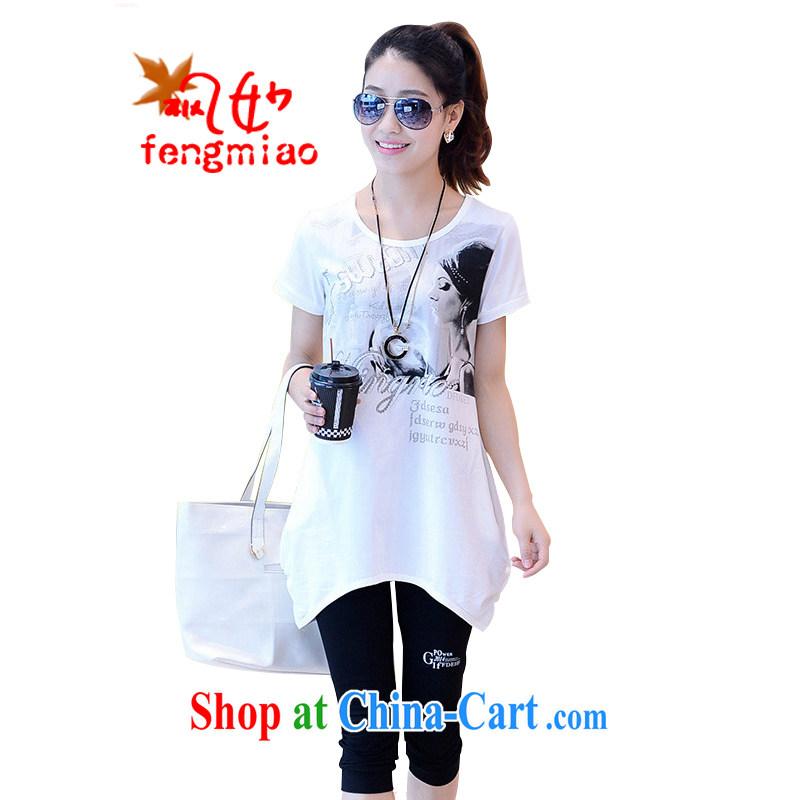 Feng Mya 2014 summer stylish Sports & Leisure loose the Code, long, short-sleeved shirt T Kit 3535 #white XXL