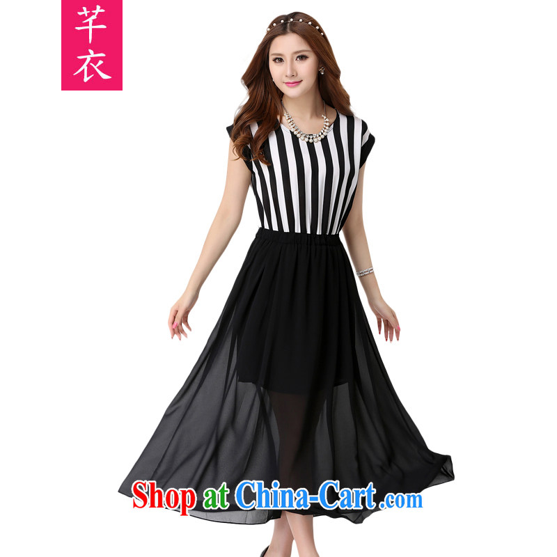 Constitution and clothing increased, indeed, female 2015 summer new bat sleeves stripes stitching thick mm elegant elasticated waist three-dimensional graphics slim skirt snow dress black 5 XL 195 - 210 jack