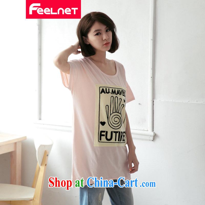 feelnet XL girls with thick mm summer new Korean long Graphics thin fingerprints Q short-sleeved T pension 2174 & pink large code 3XL