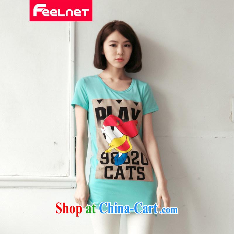 feelnet Korean version 2015 XL women mm thick new summer long cultivating letter short-sleeve larger T pension 2178 _ blue green code 6 XL
