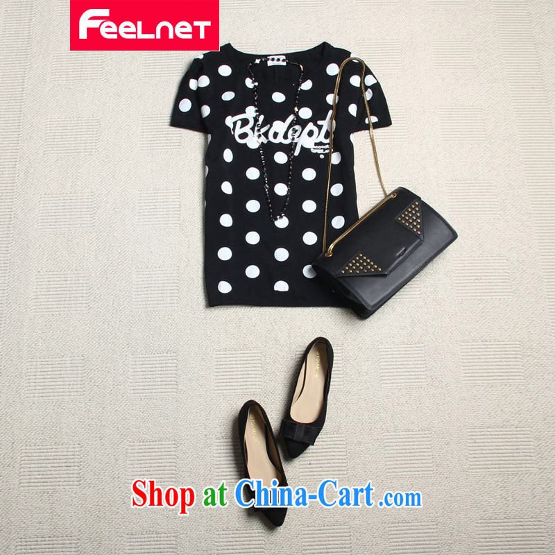 South Korea feelnet version 2015 XL girls thick mm summer New Round little cultivating the code short-sleeved T pension 2179 _ Black Large Number 4 XL