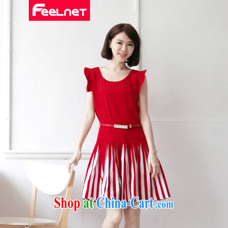 feelnet Korean XL girls thick M summer new belt beauty spell streaks, with dresses 1422 big red code 5 XL