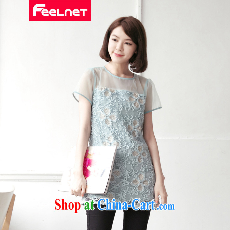 feelnet Korean version XL female thick mm summer new, three-dimensional fluoroscopy petals beauty dresses 1432 light blue large code 6 XL