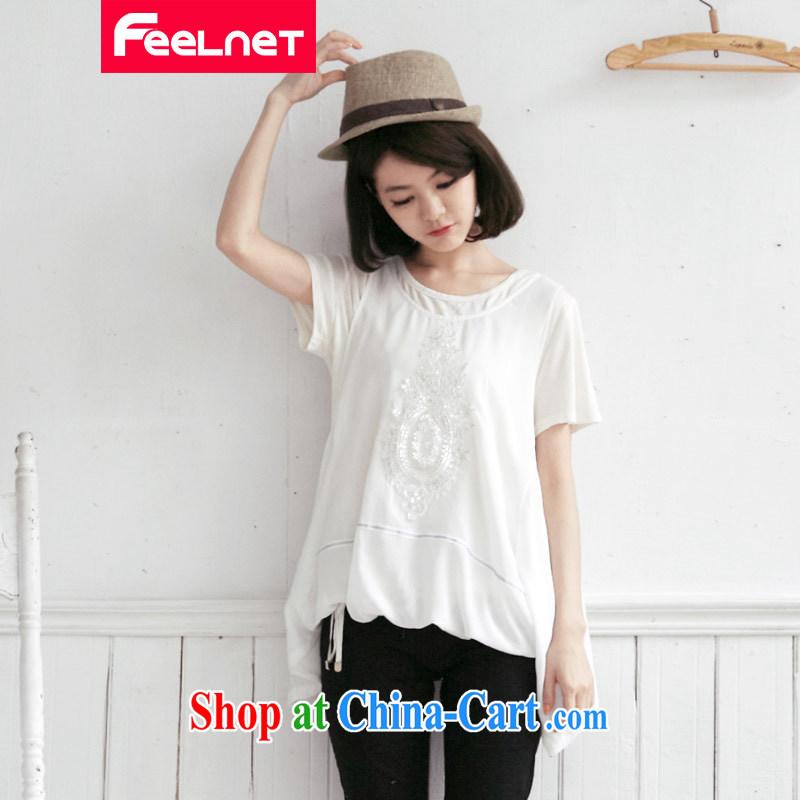 The feelnet Code women 2015 summer video thin thick mm false both in tightening up the snow woven shirt XL shirt 2158 large white code 5 XL