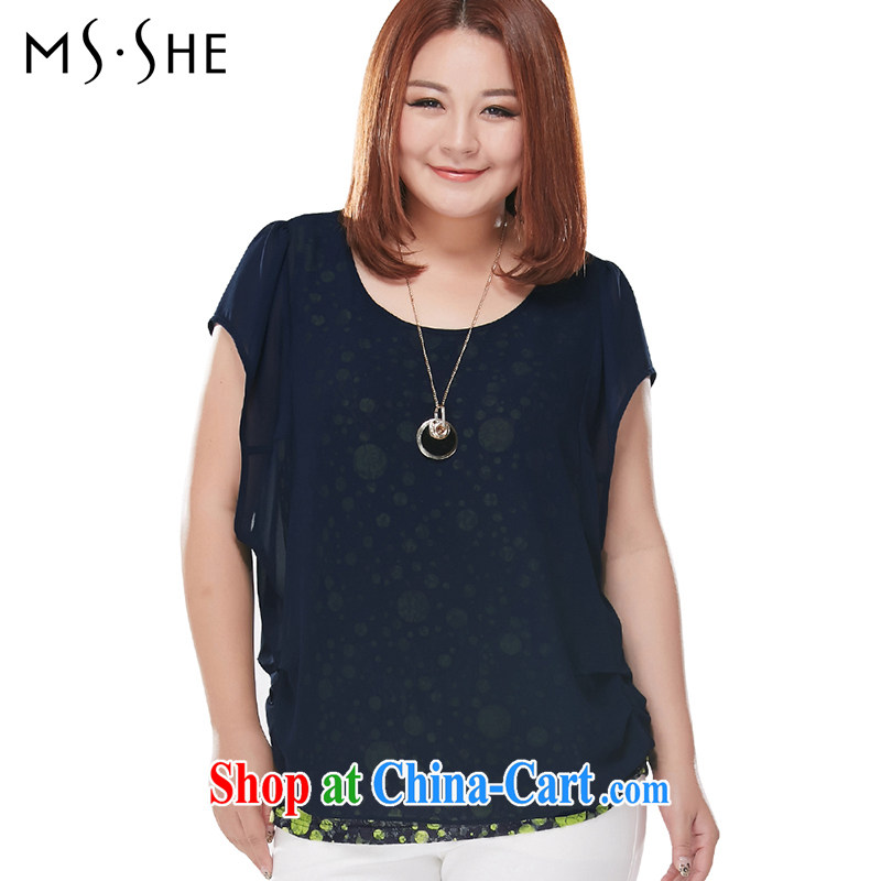 The MsShe indeed XL women 2015 summer new mm thick Korean leave of two short-sleeved round neck T-shirt 7069 blue 3 XL