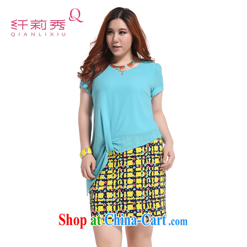Slim Li Su-summer new, larger female decoration are rules snow woven stitching package and doesn't leave of two garment Q 5319 blue L