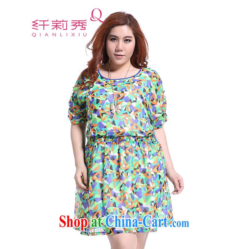 Slim Li-su summer 2014 new larger female romantic geometric stamp duty revenue Elastic waist snow woven dresses Q 5190 green XXXXL