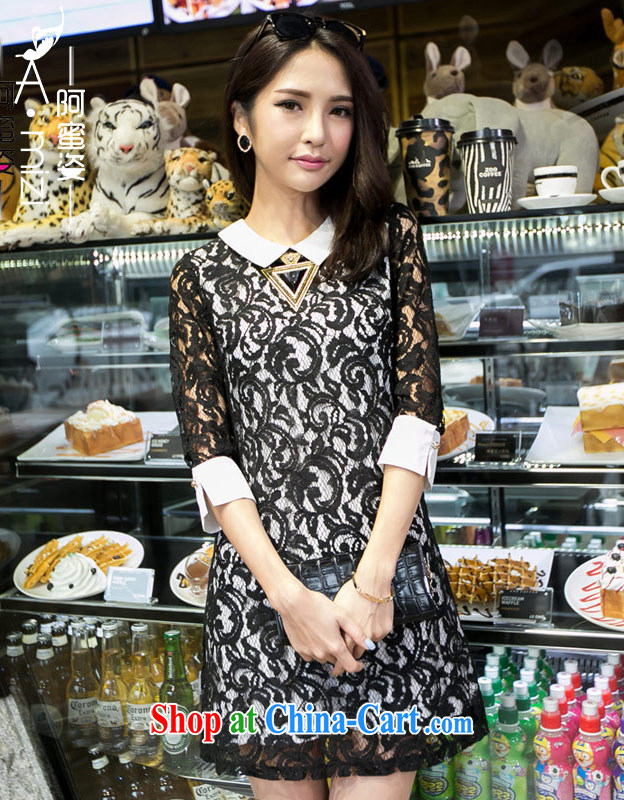 The honey and diverse expertise NPC code female thick MM Korean version of the new paragraph style graphics thin lapel Openwork full lace dresses women 8781 black XXXXL