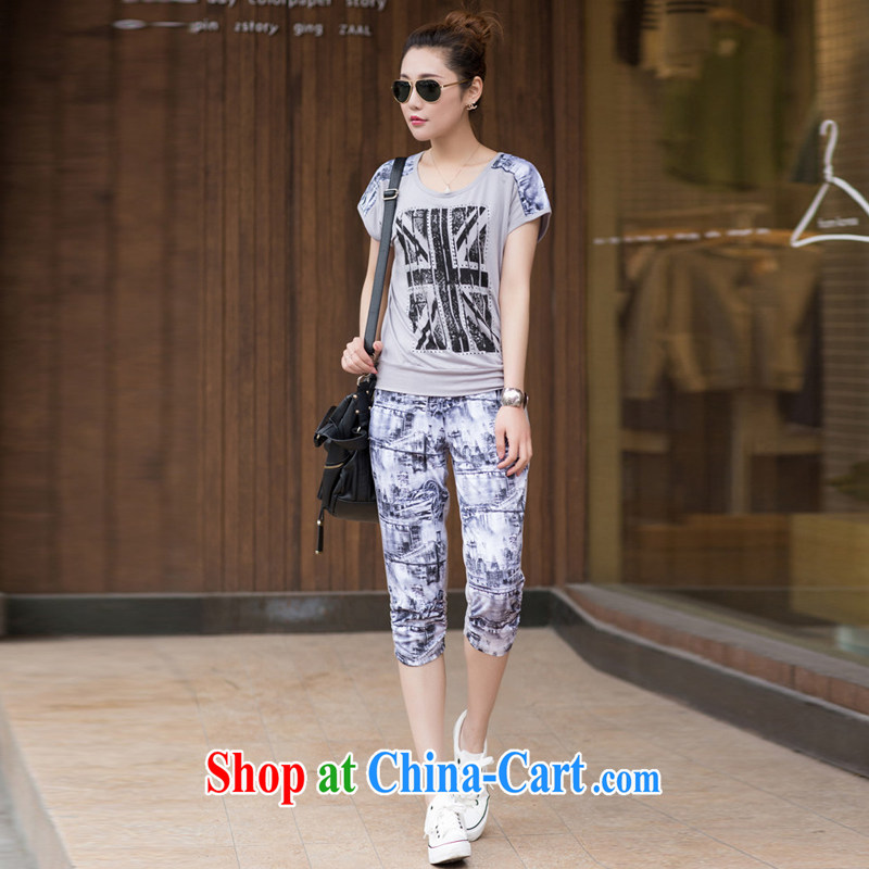2014 summer edition Korea XL female thick mm round collar Sports Leisure short-sleeve 7 pants Kit gray XXXL