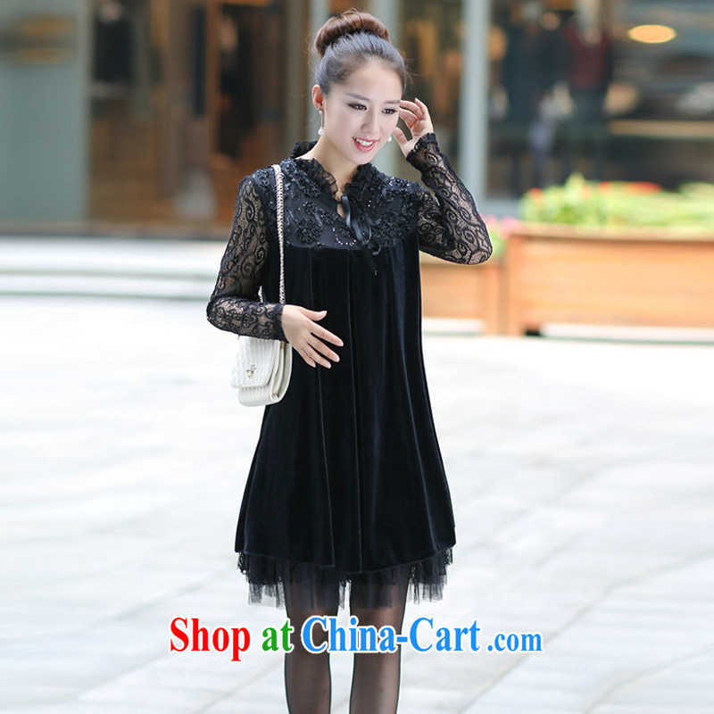 2014 Spring and Autumn and the Code female new thick MM gold velour lace stitching long-sleeved dresses black XXXXL