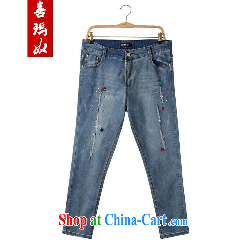 Hi Margaret slavery summer Korean thick sister larger female decoration, graphics thin stretch elastic, high-waist jeans pants M 21,169 blue 40 200 Jack the following