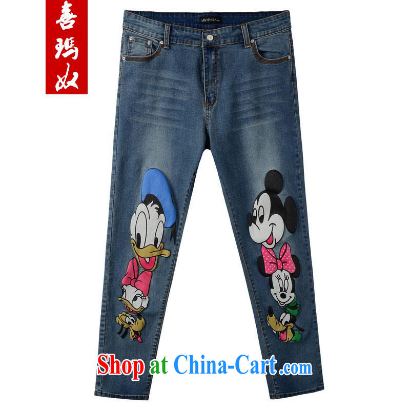 Hi Margaret slavery summer Korean version the code female cartoon patterns and stylish stamp spring tension, high waist jeans M 21,179 blue 40 190 Jack the following