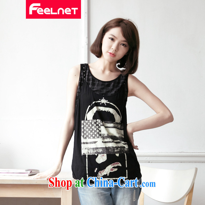 feelnet Korean version XL female thick mm summer new graphics thin false 2 in stamp duty vest T pension 2162 black large code 5 XL