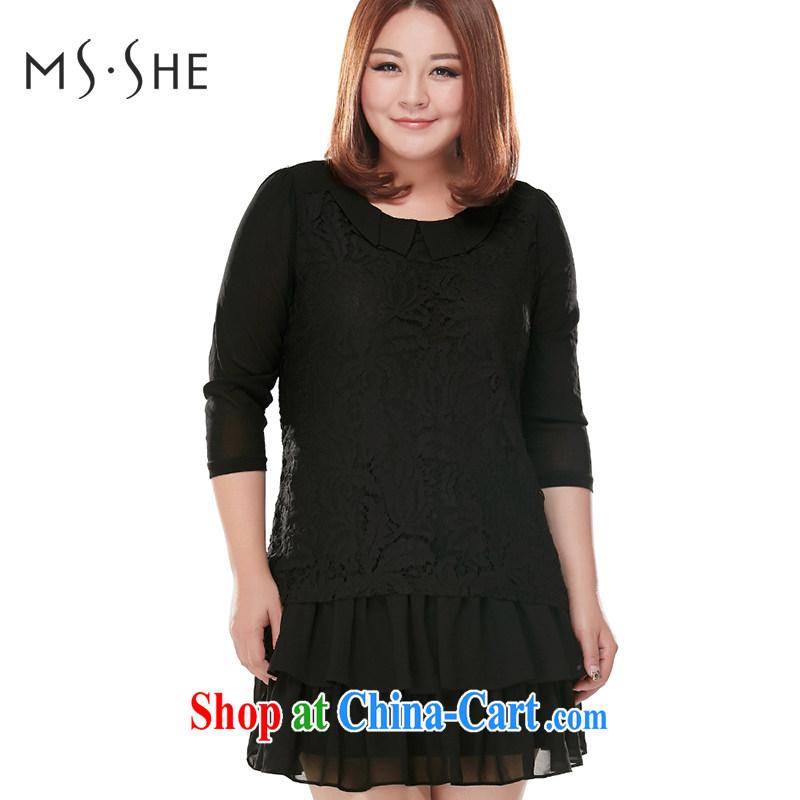 MSSHE XL girls 2014 new Autumn with sweet lace snow woven, long T-shirt, long-sleeved dress shirt 6150 Black - 7 4 XL